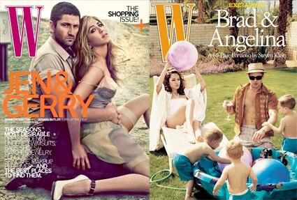 Gerard Butler, Jennifer Aniston, W Cover, Angelina Jolie, Brad Pitt