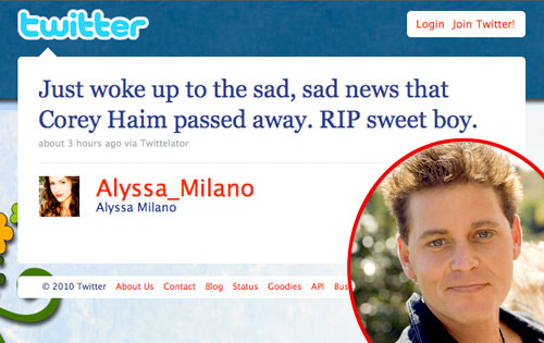 Alyssa Milano, Twitter, Corey Haim