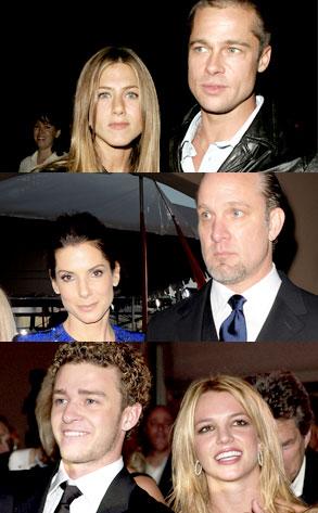 Brad Pitt, Jen Aniston, Sandra Bullock, Jesse James, Justin Timberlake, Britney Spears