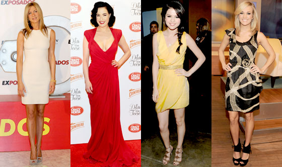 Jennifer Aniston, Dita Von Teese, Selena Gomez, Carrie Underwood