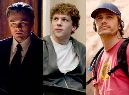 Leonardo DiCaprio, Inception, Jesse Eisenberg, The Social Network, James Franco, 127 Hours