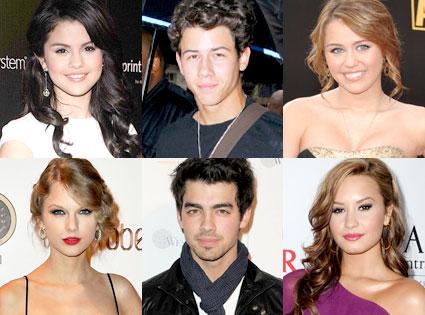 Selena Gomez, Nick Jonas, Miley Cyrus, Taylor Swift, Joe Jonas, Demi Lovato