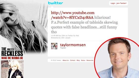 Taylor Momsen, Twitter, Joel McHale