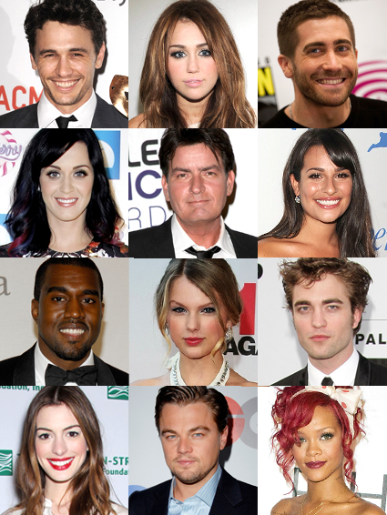 Anne Hathaway, Charlie Sheen, Miley Cyrus, Jake Gyllenhaal, James Franco, Kanye West, Katy Perry, Lea Michele, Leonardo DiCaprio, Rihanna, Robert Pattinson, Taylor Swift