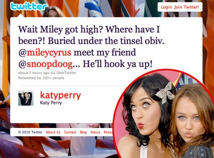 Katy Perry, Twitter, Miley Cyrus