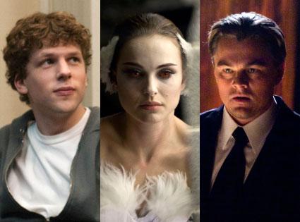 Natalie Portman, Eisenberg, Leonardio Dicaprio, Black Swan, Social Network, Inception