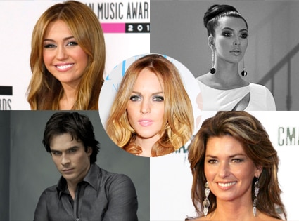 Miley Cyrus, Kim Kardashian, Ian Somerhalder, Shania Twain, Lindsay Lohan