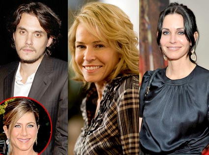 Courteney Cox, John Mayer, Chelsea Handler, Jen Aniston