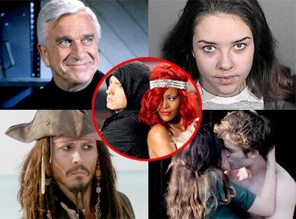 Leslie Nielsen, Alexis Neiers, Johnny Depp, Robert Pattinson, Kristen Stewart, Rihanna, Eminem