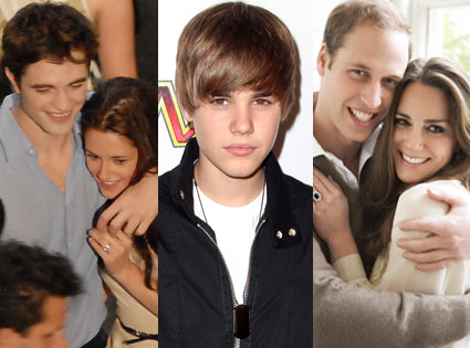 Rob Pattinson, Kristen Stewart, Justin Bieber, Kate Middleton, Prince William