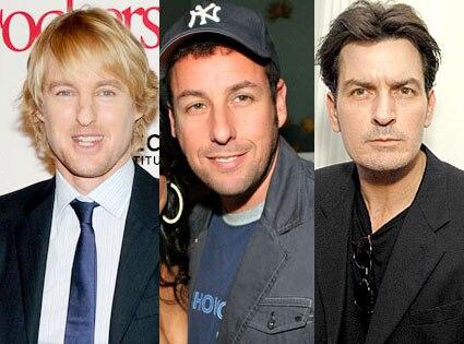 Owen Wilson, Charlie Sheen, Adam Sandler