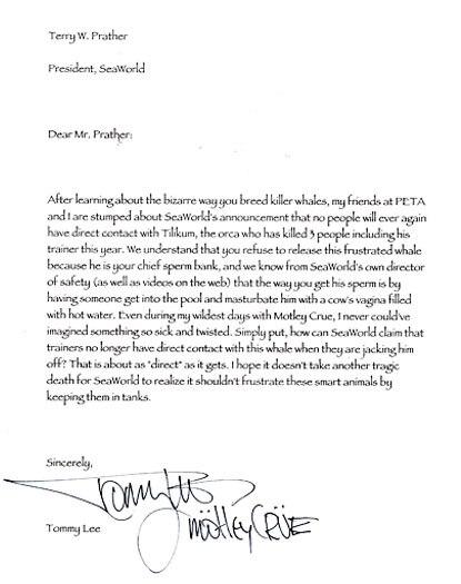 Tommy Lee, PETA Letter