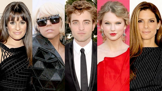 Lea Michele, Lady Gaga, Robert Pattinson, Taylor Swift, Sandra Bullock