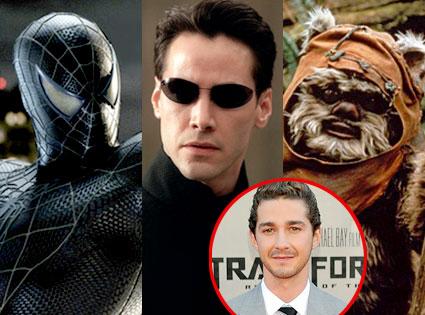 Spiderman 3, Keanu Reeves, Ewok, Shia LaBeouf