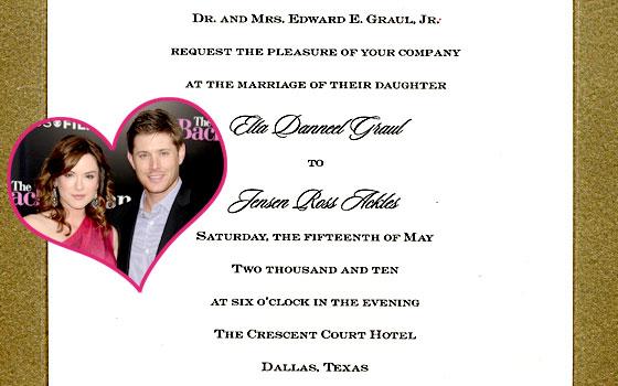 Jensen Ackles, Danneel Harris, Wedding Invitation