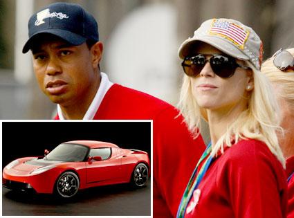 Tiger Woods, Elin Nordegren, Tesla Sports Car