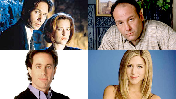 David Duchovny, Gillian Anderson, The X-Files, James Gandolfini, The Sopranos, Jerry Seinfeld, Seinfeld, Jennifer Aniston, Friends