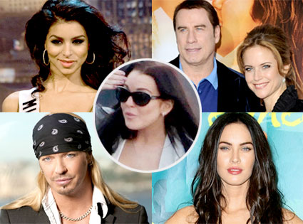 Rima Fakih, John Travolta, Kelly Preston, Brett Michaels, Megan Fox, Lindsay Lohan