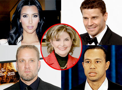 Tiger Woods, David Boreanaz, Jesse James, Kim Kardashian, Gloria Allred