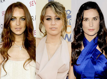 Lindsay Lohan, Miley Cyrus, Demi Moore