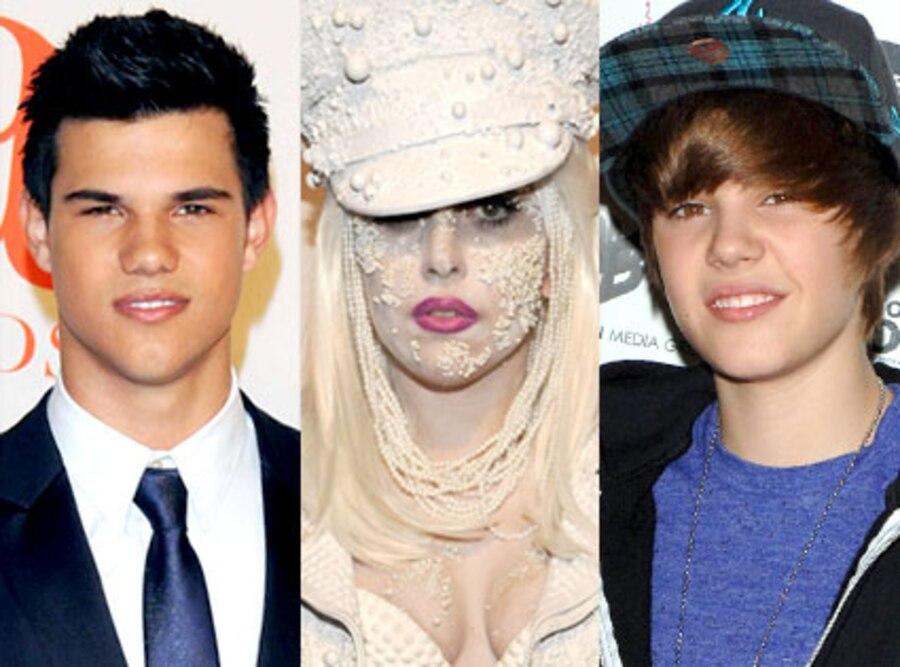 Taylor Lautner, Lady Gaga, Justin Bieber