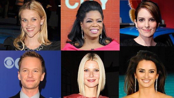 Oprah Winfrey, Gwyneth Paltrow, Tina Fey, Neil Patrick Harris, Reese Witherspoon, Penelope Cruz