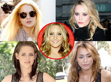 Lindsay Lohan, Mary- Kate Olsen, Kristen Stewart, Miley Cyrus, Amanda Bynes