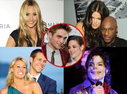 Michael Jackson, Amanda Bynes, Jake Pavelka, Vienna Giraldi, Khloe Kardashian, Lamar Odom,  Robert Pattinson, Kristen Stewart