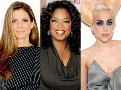 Sandra Bullock, Oprah Winfrey, Lady Gaga