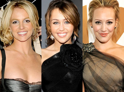 Britney Spears, Miley Cyrus, Hilary Duff
