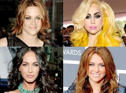 Kristen Stewart, Lady Gaga, Megan Fox, Miley Cyrus