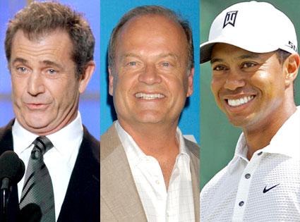 Mel Gibson, Kelsey Grammer, Tiger Woods
