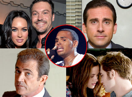 Mel Gibson, Chris Brown, Megan Fox, Kristen Stewart, Robert Pattinson, Brian Austin Green, SteveCarrell