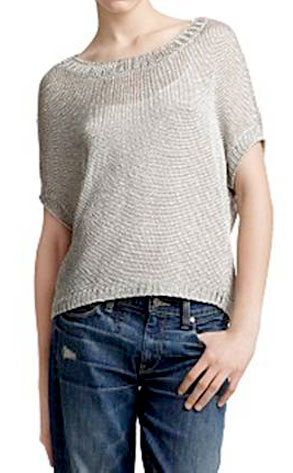 Vince's Metallic Popover Short-Sleeved Sweater