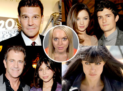 David Boreanaz, Orlando Bloom, Miranda Kerr, Mel Gibson, Oksana Grigorieva, Angelina Jolie, Lindsay Lohan