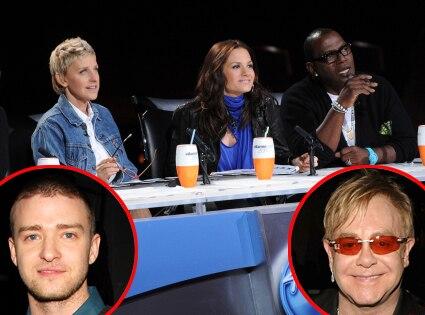 American Idol, Ellen DeGeneres, Kara DioGuardi, Randy Jackson, Justin Timberlake, Elton John