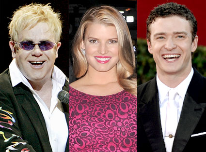 Elton John, Jessica Simpson, Justin Timberlake
