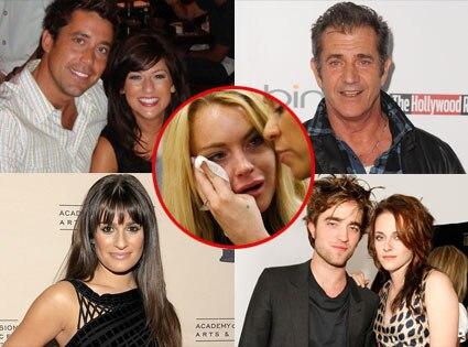 Mel Gibson, Lea Michele, Ed Swiderski, Jillian Harris, Lindsay Lohan, Robert Pattinson, Kristen Stewart