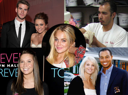 "Bristol Palin, Remegio ""Remy"" Gonzalez,  Miley Cyrus, Liam Hemsworth, Tiger Woods, Elin Nordegren, Lindsay Lohan"