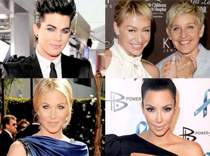 Adam Lambert, Ellen Degeneres, Portia De Rossi, Christina Applegate, Kim Kardashian