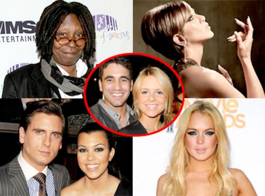 Whoopi Goldberg, Jennifer Aniston,  Kourtney Kardashian, Scott Disick, Lindsay Lohan, Ali Fedotowsky, Roberto Martinez