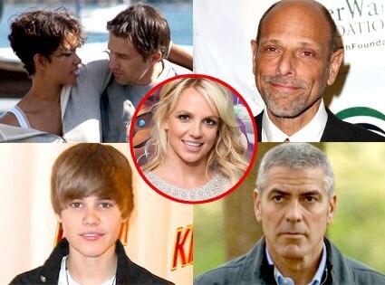 Halle Berry, Olivier Martinez, Robert Schimmel, Justin Bieber, George Clooney, Britney Spears