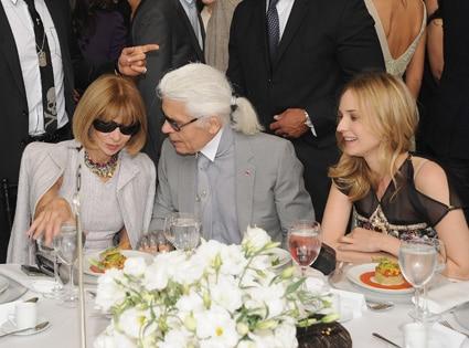 Anna Wintour, designer Karl Lagerfeld and Diane Kruger