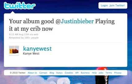Twitter, Kanye West, Justin Bieber