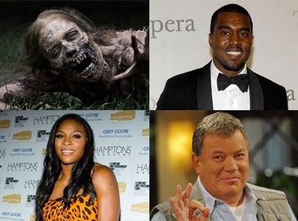 The Walking Dead, Kanye West, Serena Williams, William Shatner