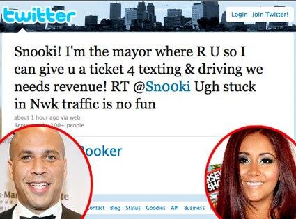 Cory Booker, Nicole 'Snooki' Polizzi, Twitter
