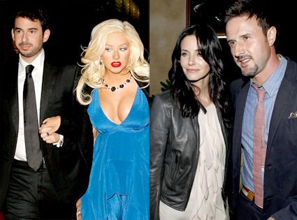Christina Aguilera, Courteney Cox, David Arquette
