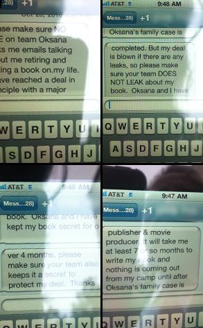 Oksana, Text messages