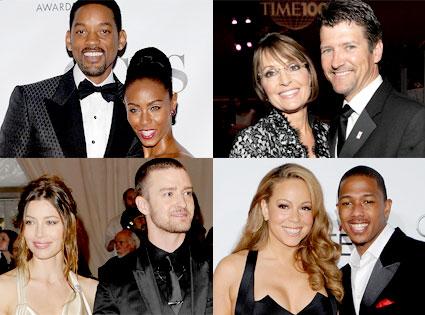 Will Smith, Jada Pinkett-Smith, Sarah Palin, Todd Palin, Justin Timberlake, Jessica Biel, Mariah Carey, Nick Cannon