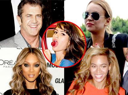 Mel Gibson, Lindsay Lohan, Tyra Banks, Beyonce Knowles, Lea Michele